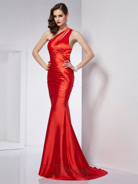Sheath/Column Sleeveless Beading Sweep/Brush Train Elastic Woven Satin One-Shoulder Dresses
