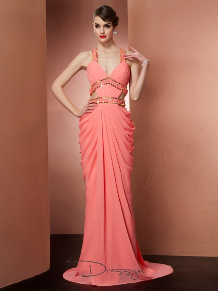 A-Line/Princess Sleeveless Beading Sweep/Brush Train Chiffon Halter Dresses