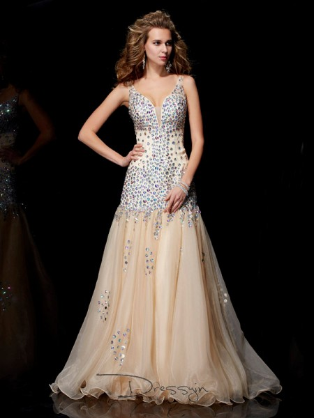 Sheath/Column Sleeveless Beading Floor-Length Organza V-neck Dresses