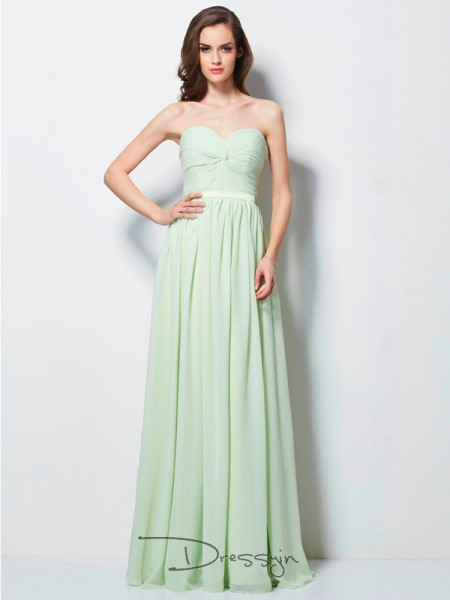 A-Line/Princess Sleeveless Pleats Floor-Length Chiffon Sweetheart Dresses