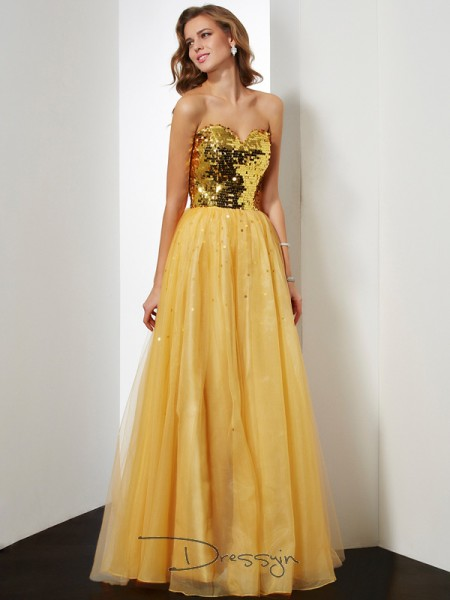 Ball Gown Sleeveless Sequin Floor-Length Organza Sweetheart Dresses