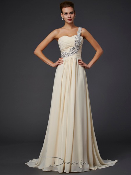 A-Line/Princess Sleeveless Beading Applique Floor-Length Chiffon One-Shoulder Dresses