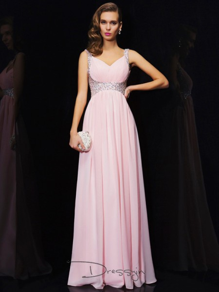 A-Line/Princess Sleeveless Beading Floor-Length Chiffon V-neck Straps Dresses
