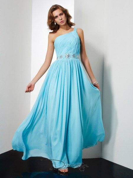 A-Line/Princess Sleeveless Beading Floor-Length Chiffon One-Shoulder Dresses