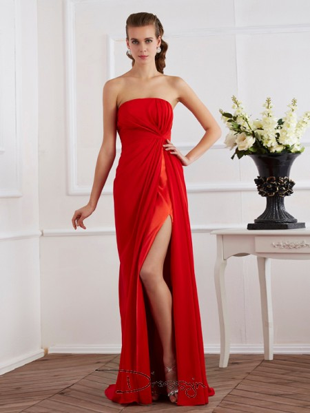 Sheath/Column Sleeveless Pleats Floor-Length Chiffon Strapless Dresses