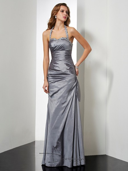 Trumpet/Mermaid Sleeveless Beading Bowknot Floor-Length Taffeta Halter Dresses