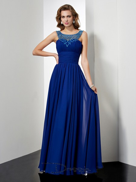 Empire Sleeveless Beading Floor-Length Chiffon High Neck Dresses