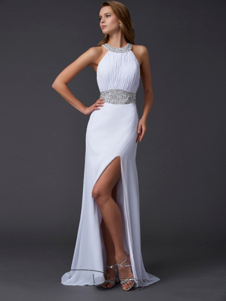 A-Line/Princess Sleeveless Ruffles Beading Sweep/Brush Train Chiffon Scoop Dresses