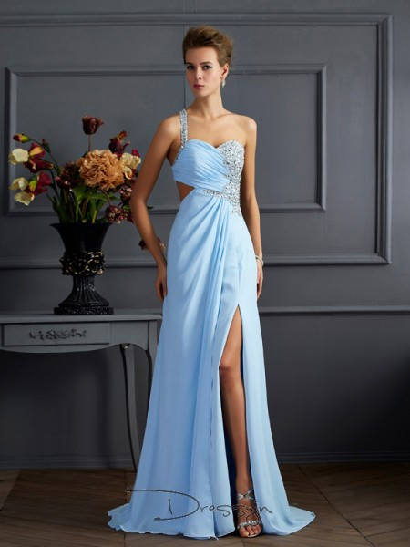 Sheath/Column Sleeveless Beading Sweep/Brush Train Chiffon One-Shoulder Dresses