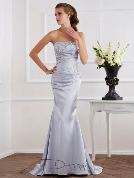 Trumpet/Mermaid Sleeveless Sweep/Brush Train Elastic Woven Satin Strapless Dresses