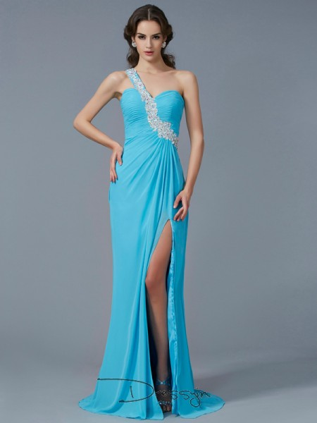 Sheath/Column Sleeveless Beading Applique Sweep/Brush Train Chiffon One-Shoulder Dresses