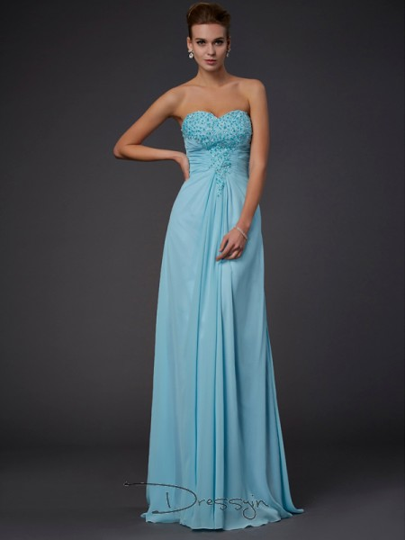 Sheath/Column Sleeveless Beading Floor-Length Chiffon Sweetheart Dresses