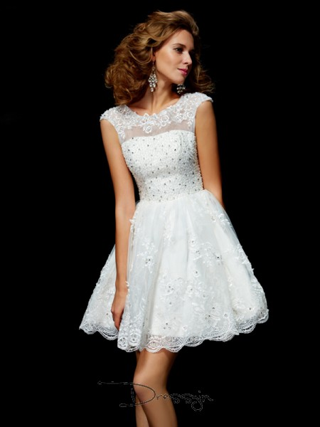 A-Line/Princess Short Sleeves Applique Short/Mini Organza V-neck Dresses