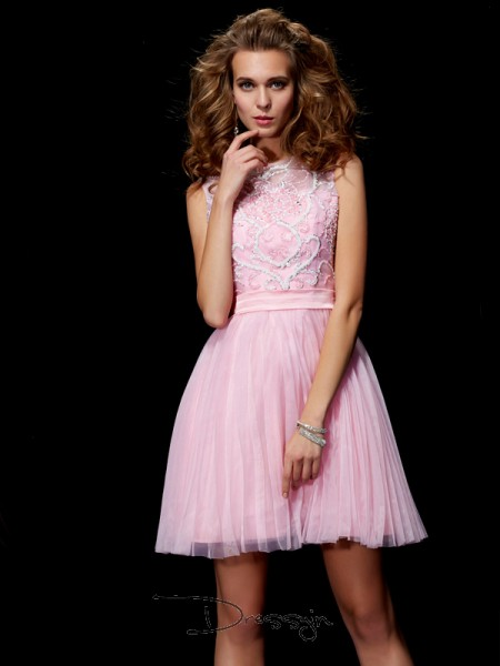 A-Line/Princess Sleeveless Beading Short/Mini Elastic Woven Satin Net Scoop Dresses