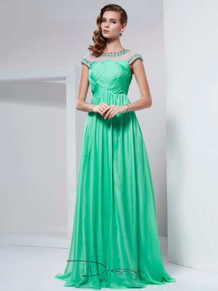 A-Line/Princess Short Sleeves Ruffles Beading Floor-Length Chiffon High Neck Dresses