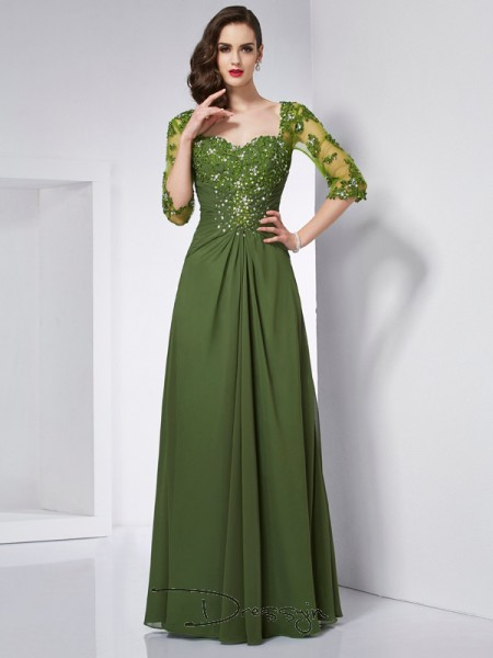 A-Line/Princess 3/4 Sleeves Beading Applique Floor-Length Chiffon Sweetheart Dresses