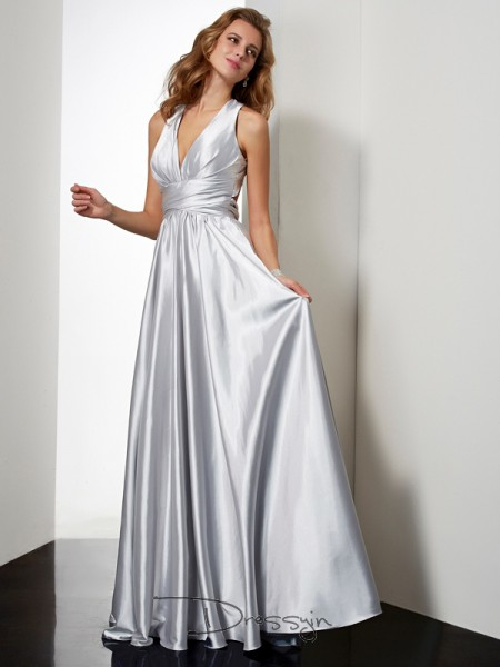 Sheath/Column Sleeveless Pleats Floor-Length Elastic Woven Satin Halter Dresses