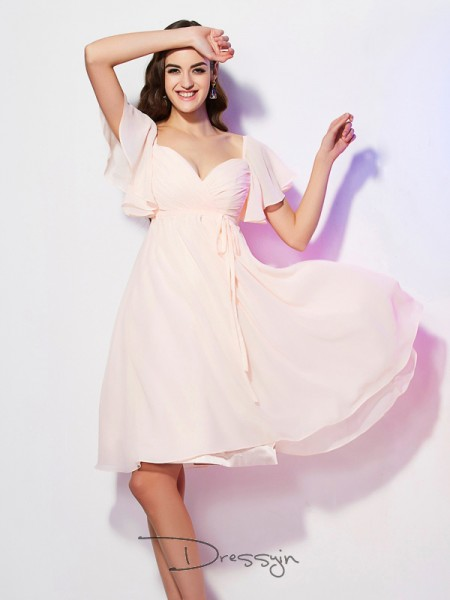 Sheath/Column Short Sleeves Ruffles Knee-Length Chiffon Sweetheart Bridesmaid Dresses