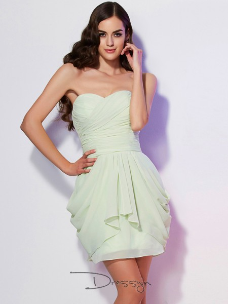 A-Line/Princess Sleeveless Pleats Short/Mini Chiffon Sweetheart Dresses