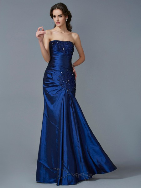 Trumpet/Mermaid Sleeveless Applique Floor-Length Taffeta Strapless Dresses