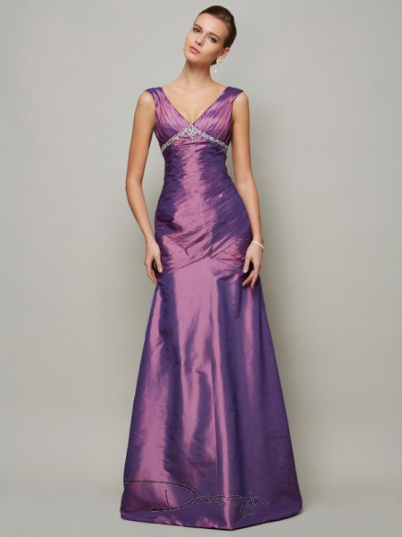 Sheath/Column Sleeveless Beading Floor-Length Taffeta V-neck Dresses
