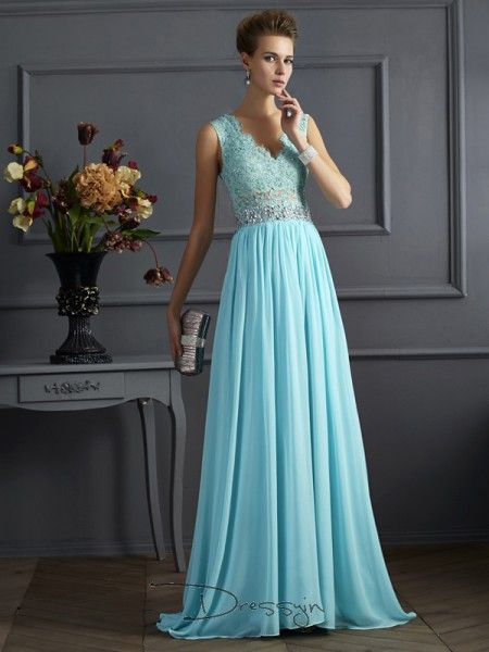 A-Line/Princess Sleeveless Beading Lace Sweep/Brush Train Chiffon Straps Dresses
