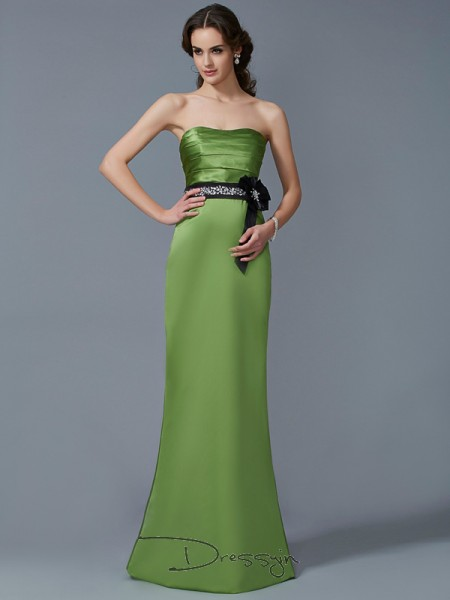 Sheath/Column Sleeveless Sash/Ribbon/Belt Floor-Length Satin Strapless Dresses