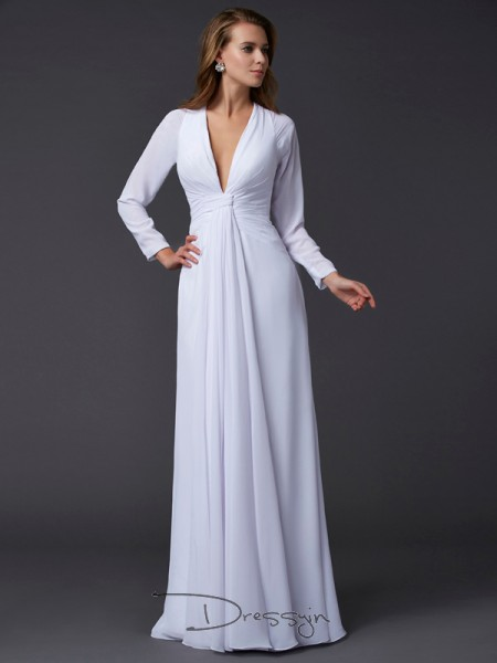 Sheath/Column Long Sleeves Ruched Floor-Length Chiffon V-neck Dresses