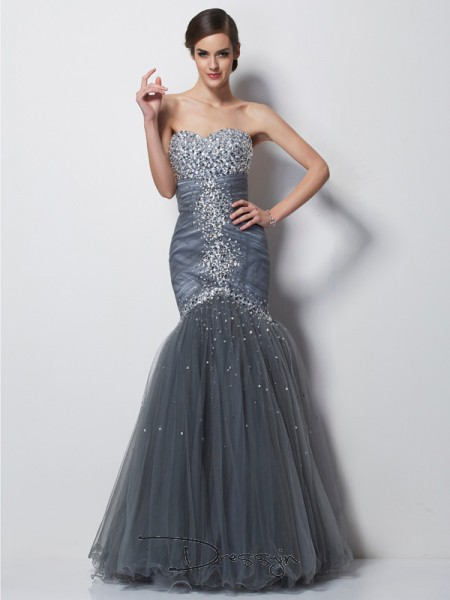 Trumpet/Mermaid Sleeveless Beading Floor-Length Net Satin Sweetheart Dresses