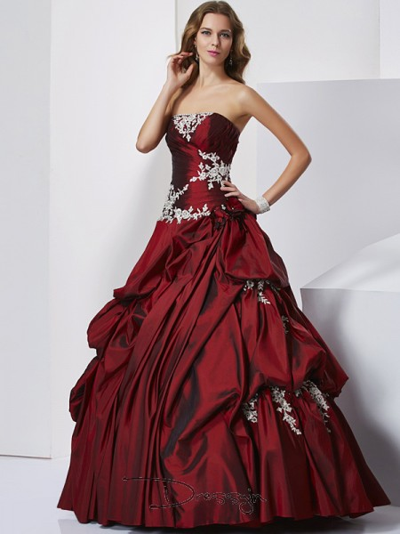Ball Gown Sleeveless Beading Floor-Length Taffeta Sweetheart Dresses