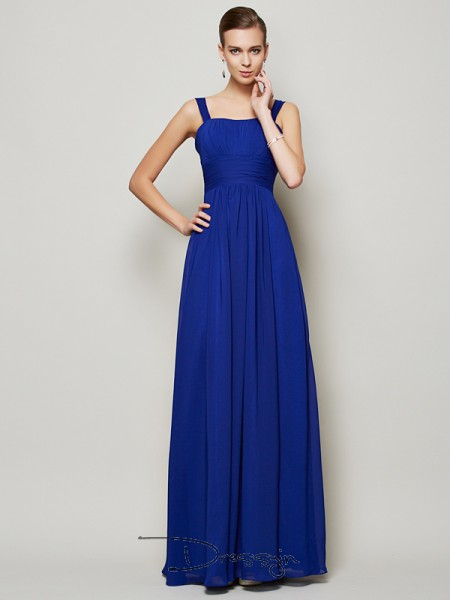 Sheath/Column Sleeveless Pleats Floor-Length Chiffon Straps Dresses