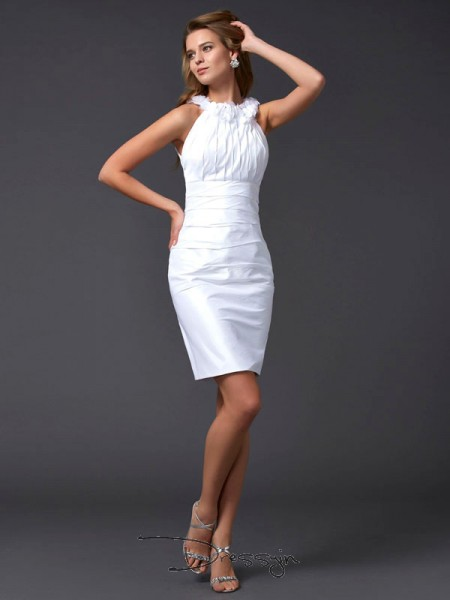Sheath/Column Sleeveless Hand-Made Flower Short/Mini Taffeta High Neck Dresses