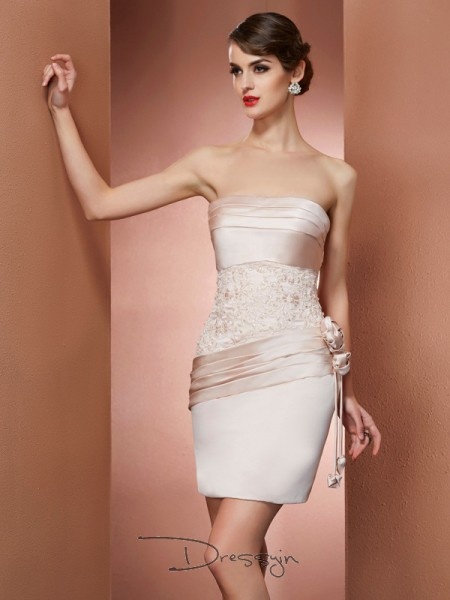 Sheath/Column Sleeveless Hand-Made Flower Short/Mini Satin Strapless Dresses