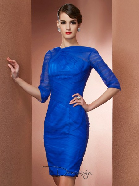 Sheath/Column 1/2 Sleeves Pleats Short/Mini Elastic Woven Satin Net High Neck Dresses