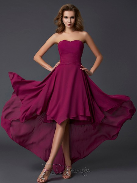 A-Line/Princess Sleeveless Pleats Asymmetrical Chiffon Sweetheart Dresses