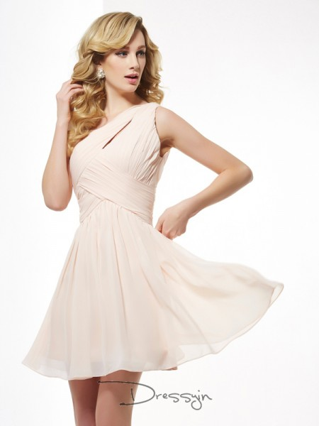 A-Line/Princess Sleeveless Pleats Short/Mini Chiffon One-Shoulder Dresses