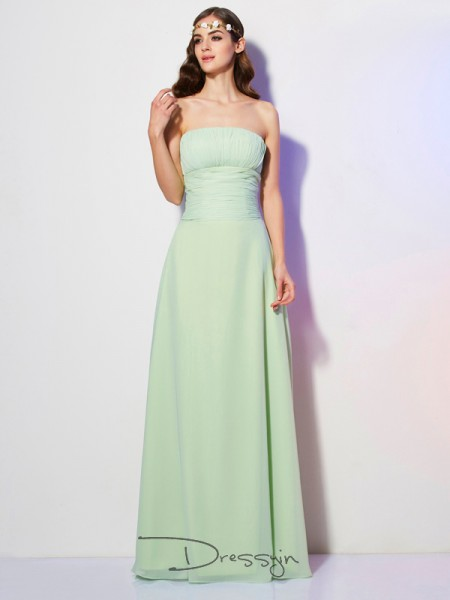 A-Line/Princess Sleeveless Pleats Floor-Length Chiffon Strapless Dresses