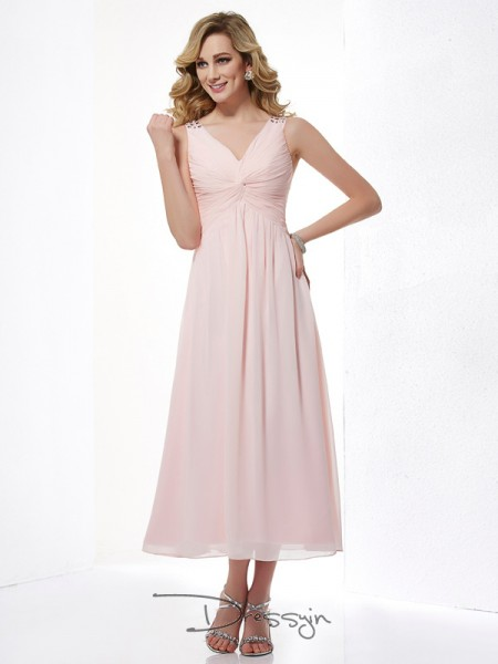 A-Line/Princess Sleeveless Pleats Beading Tea-Length Chiffon V-neck Dresses