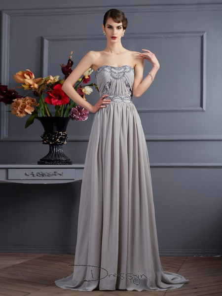 A-Line/Princess Sleeveless Pleats Beading Sweep/Brush Train Chiffon Sweetheart Dresses