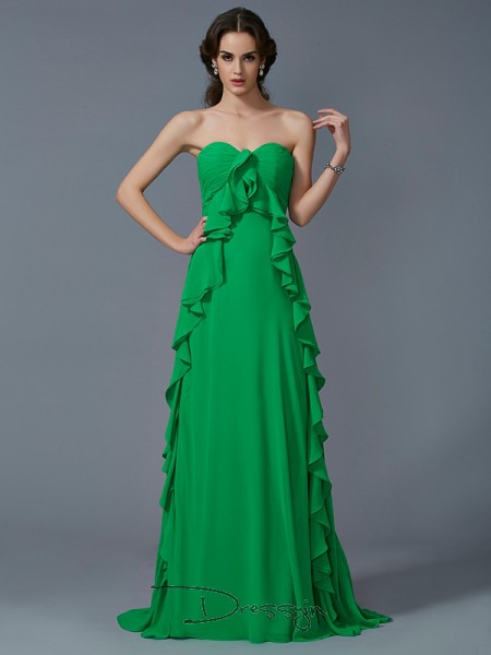 A-Line/Princess Sleeveless Ruffles Sweep/Brush Train Chiffon Sweetheart Dresses