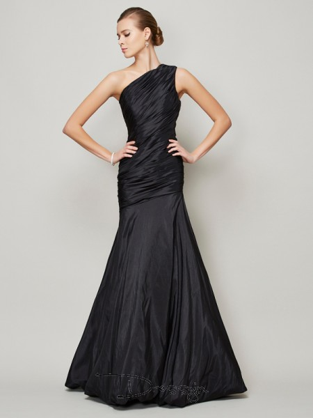 A-Line/Princess Sleeveless Pleats Floor-Length Taffeta One-Shoulder Dresses