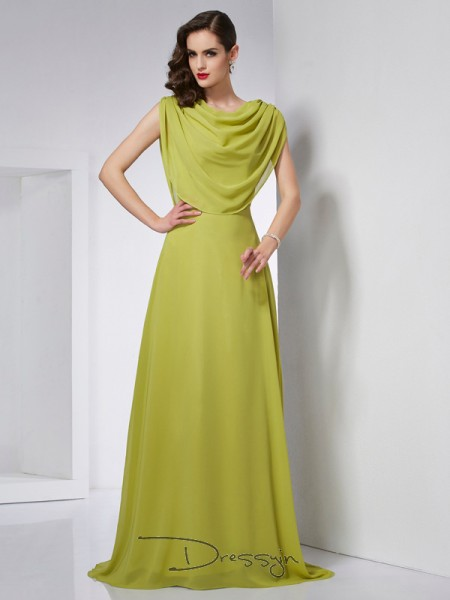 A-Line/Princess Sleeveless Pleats Sweep/Brush Train Chiffon High Neck Dresses
