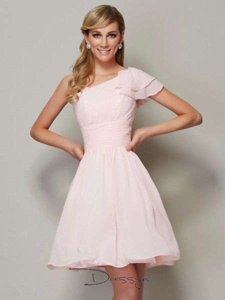 A-Line/Princess Sleeveless Pleats Short/Mini Chiffon Straps Bridesmaid Dresses