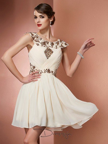 A-Line/Princess Sleeveless Beading Applique Short/Mini Chiffon Scoop Dresses