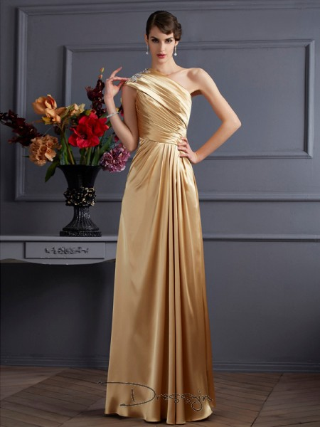A-Line/Princess Sleeveless Beading Floor-Length Elastic Woven Satin One-Shoulder Dresses