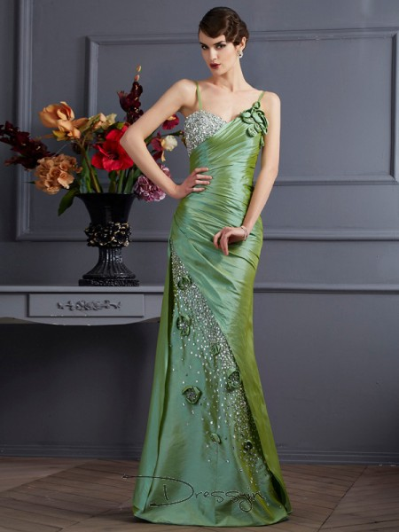 Trumpet/Mermaid Sleeveless Beading Floor-Length Taffeta Spaghetti Straps Dresses