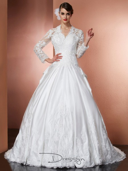 A-Line/Princess Long Sleeves Applique Cathedral Train Satin V-neck Wedding Dresses