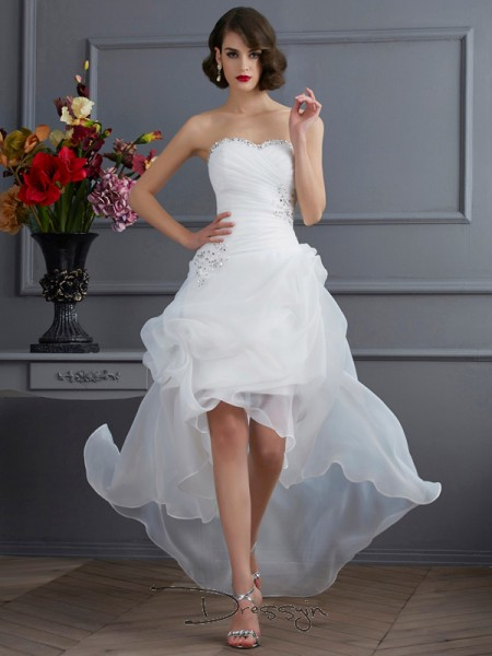A-Line/Princess Sleeveless Beading Applique Asymmetrical Organza Sweetheart Wedding Dresses
