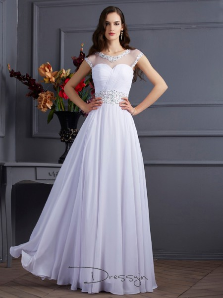 A-Line/Princess Short Sleeves Beading Floor-Length Chiffon Bateau Dresses