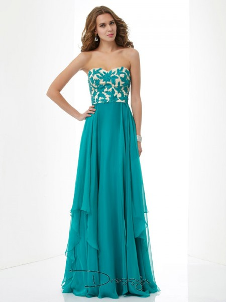 A-Line/Princess Sleeveless Applique Floor-Length Chiffon Sweetheart Dresses